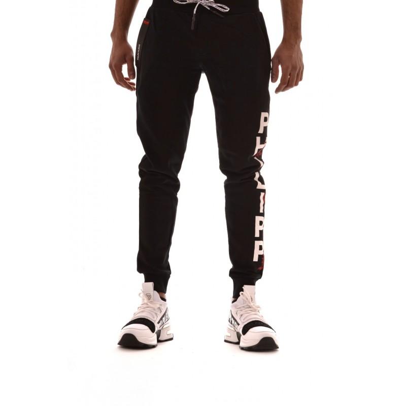 PHILIPP PLEIN - Pantaloni Jogging in Cotone con Stampa Laterale - Nero