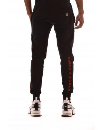 PHILIPP PLEIN - Cotton Jogging Pants with Side Print - Black