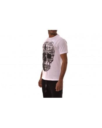 PHILIPP PLEIN - T-Shirt in Cotone a Stampa PLATINUM DOLLAR - Bianco