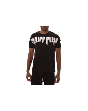 PHILIPP PLEIN - T-Shirt in Cotone con Logo stampato - Nero/Bianco