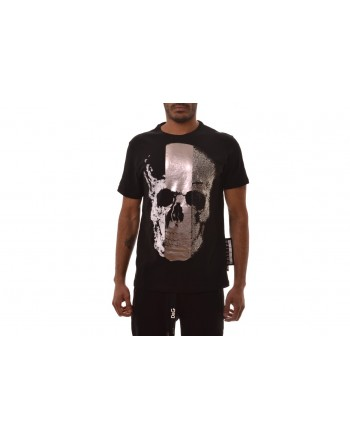 PHILIPP PLEIN - Bronze Skull Cotton T-Shirt  - Black
