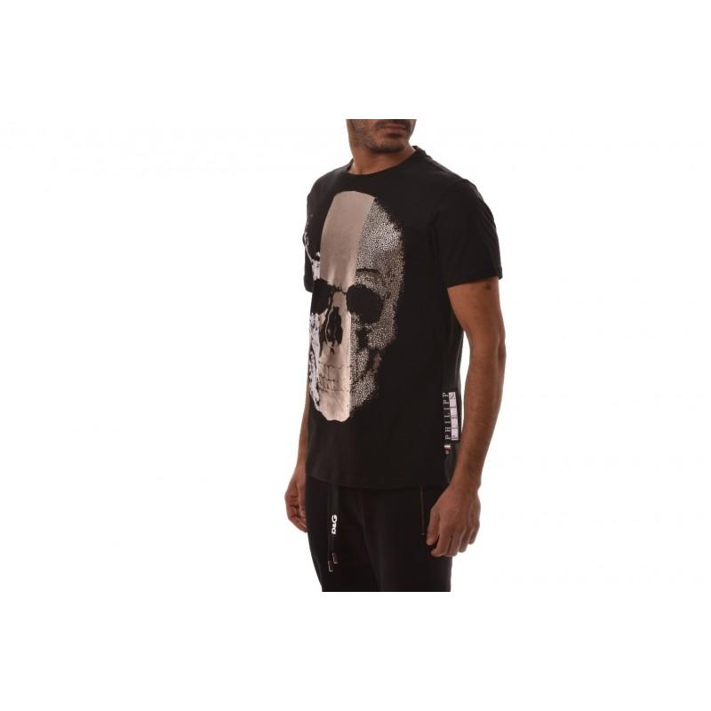 PHILIPP PLEIN - T-Shirt in Cotone a Stampa Teschio  - Nero