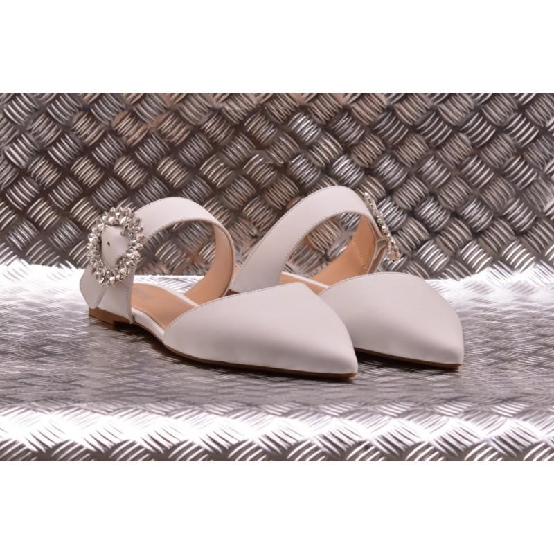 MICHAEL BY MICHAEL KORS -  Sandalo Flat in Pelle VIOLA - Bianco