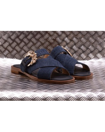 MICHAEL BY MICHAEL KORS -  Denim and Leather Slippers FRIEDE  - Indigo