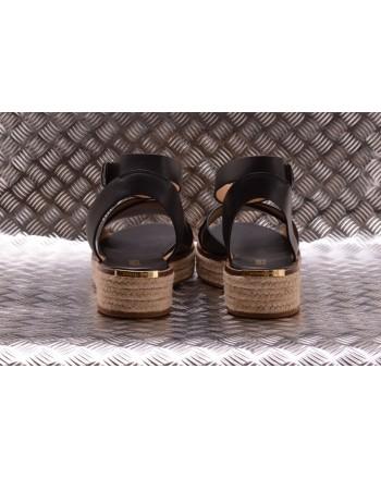 MICHAEL BY MICHAEL KORS -  Leather and Hemp Sandal ABBOTT - Black