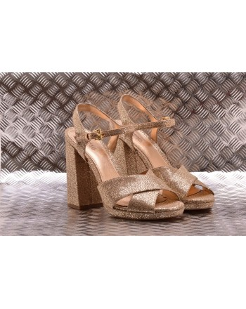 MICHAEL BY MICHAEL KORS -  Leather Glitter Sandal - Sand