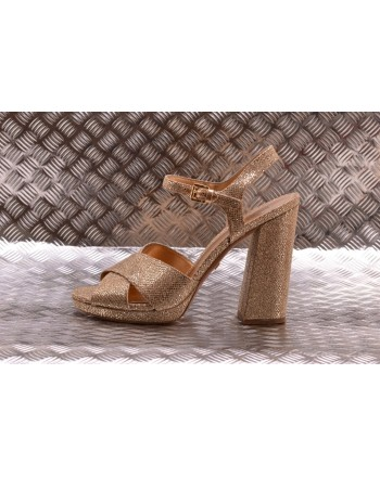 MICHAEL BY MICHAEL KORS -  Leather Glitter Sandal - Sand
