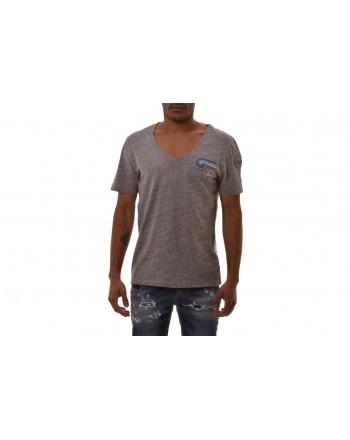 FRANKIE MORELLO - Cotton T-Shirt with Patch - Melange Grey
