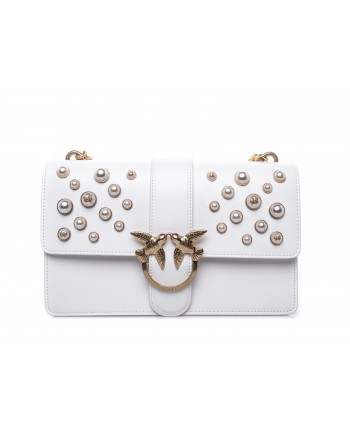 PINKO - LOVE leather handbag with pearls - White