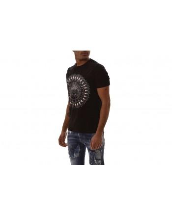 FRANKIE MORELLO -  LUCAS cotton T-shirt with front print - Black