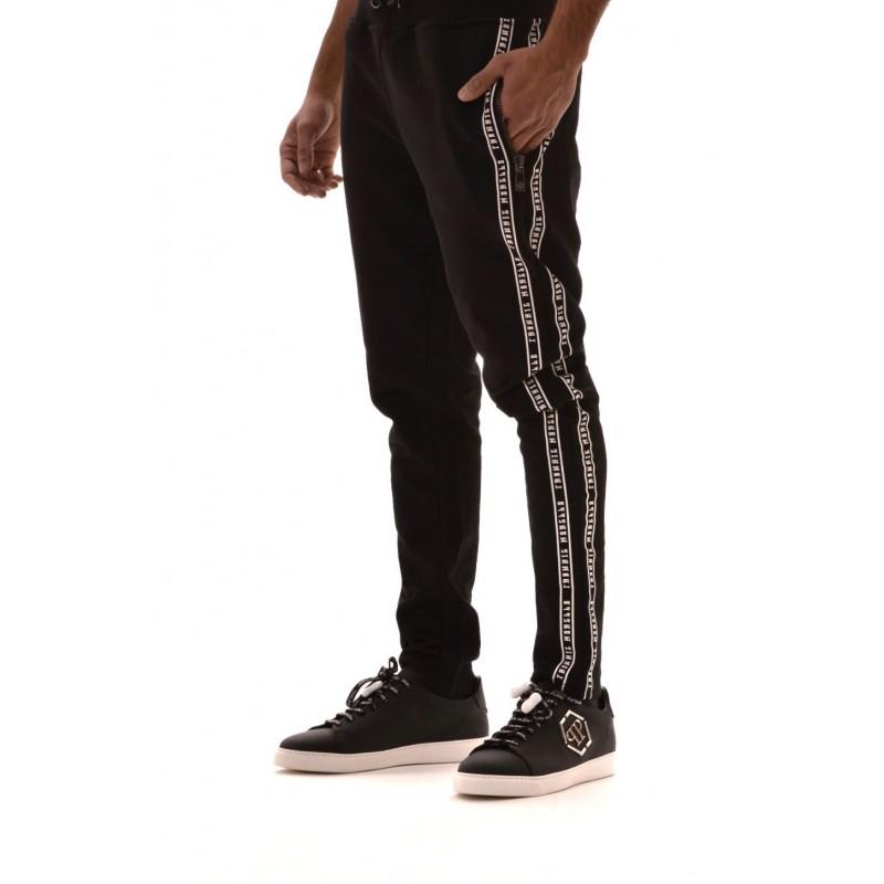 FRANKIE MORELLO - Pantalone felpa in cotone con stampa - Nero