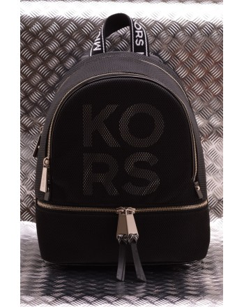 MICHAEL BY MICHAEL KORS - RHEA leather backpack with LOGO - Black/White