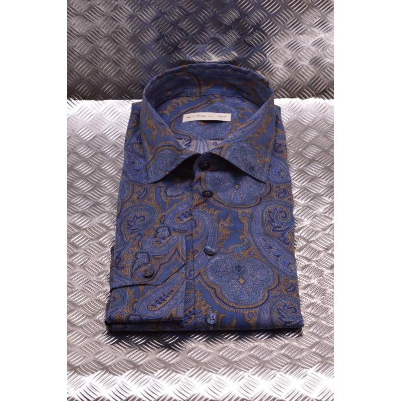 ETRO - Camicia in Cotone a stampa PAISLEY - Sabbia/Avion