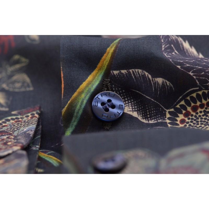 ETRO - Camicia in cotone a Stampa Fiori - Blu/Verde