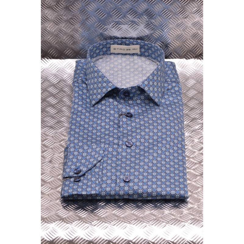 ETRO - Cotton Shirt  printed with Micro Diamonds Print - Light Blue