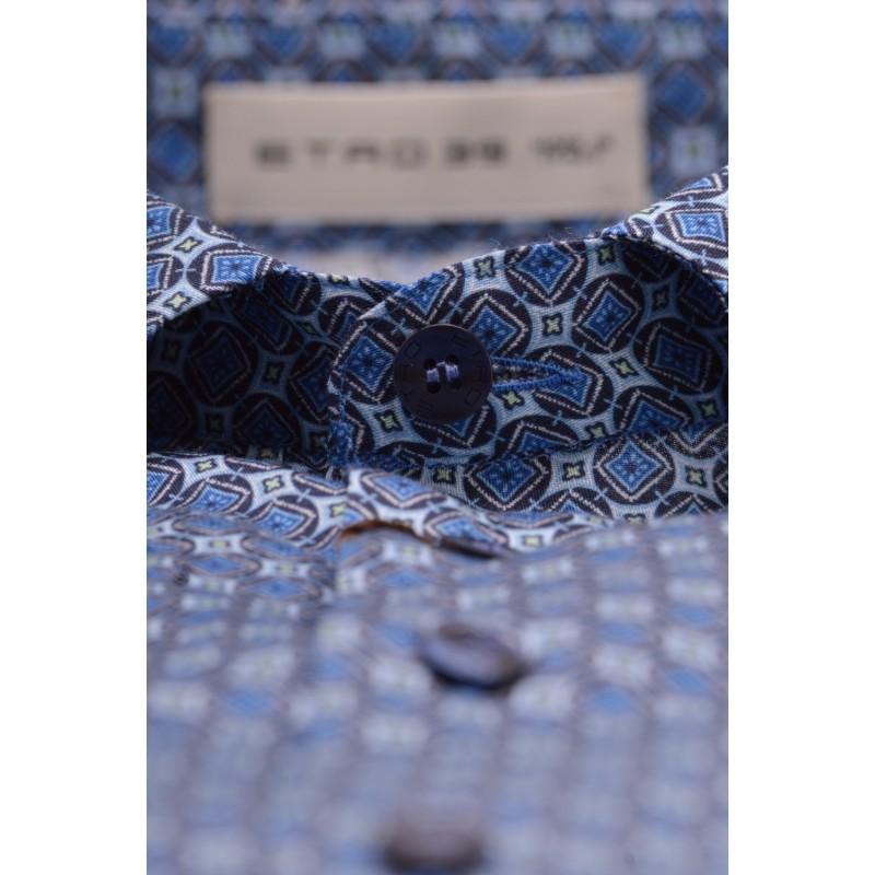 ETRO - Camicia in Cotone a Stampa Micro Losanghe - Azzurro