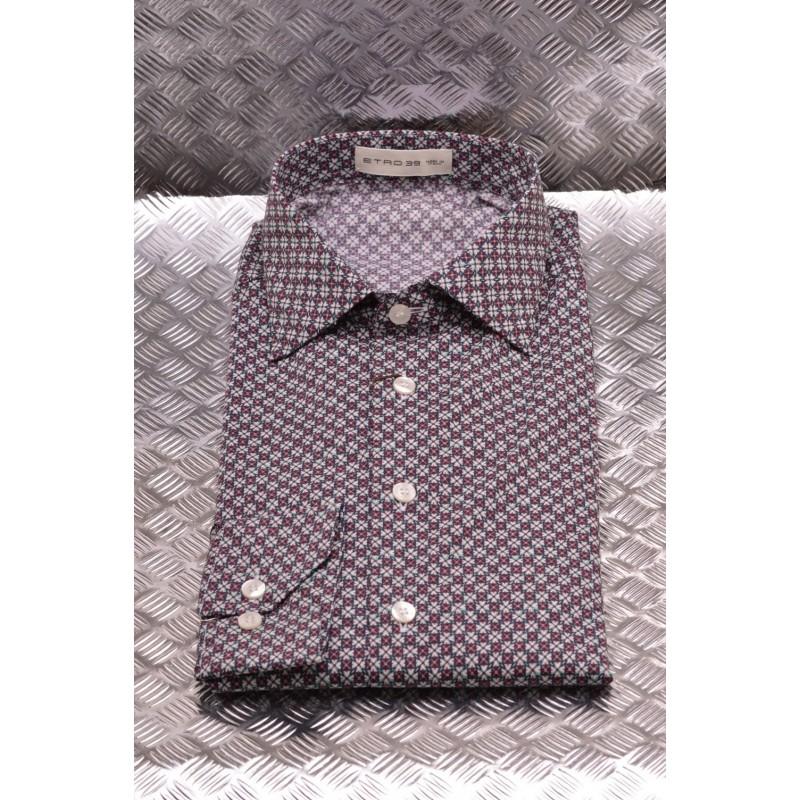 ETRO - Camicia in cotone Microfantasia - Avorio/Verde/Bordeaux