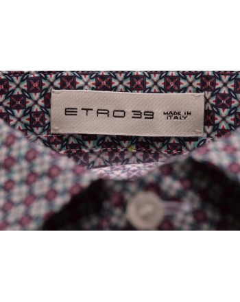 ETRO - Cotton Shirt with Micropattern - Ivory/Green/Bordeaux