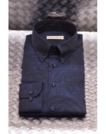 ETRO - Slim Fit Cotton Shirt with Pattern - Blue /Night Blue