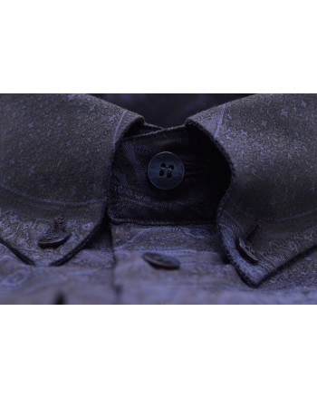 ETRO - Camicia in cotone Slim Operato - Blu/Notte
