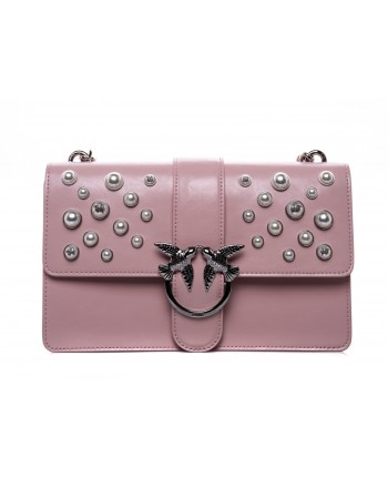 PINKO - LOVE leather handbag with pearls - Light Pink