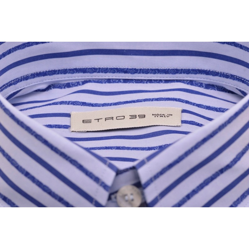 ETRO - Stripes Printed Cotton Shirt- White/Light Blue