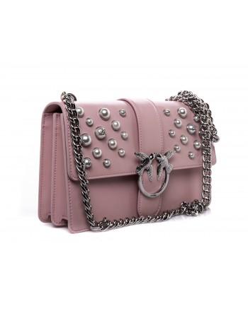 PINKO - LOVE leather handbag with pearls - Light Pink