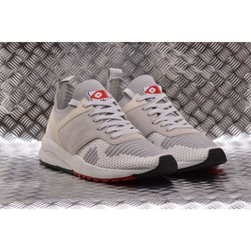 LOTTO LEGGENDA - Sneakers MARATHON KNIT in pelle - White/vapor Grey