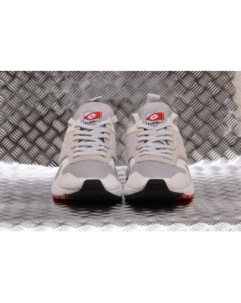 LOTTO LEGGENDA -  MARATHON KNIT leather sneakers - White/vapor Grey