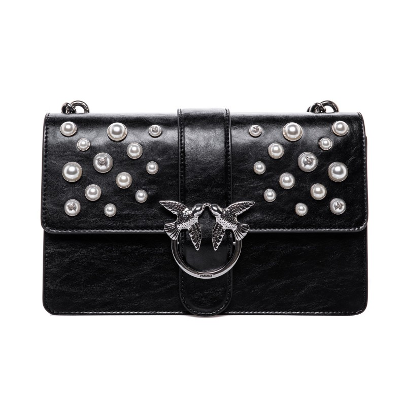 PINKO - LOVE leather handbag with pearls - Black