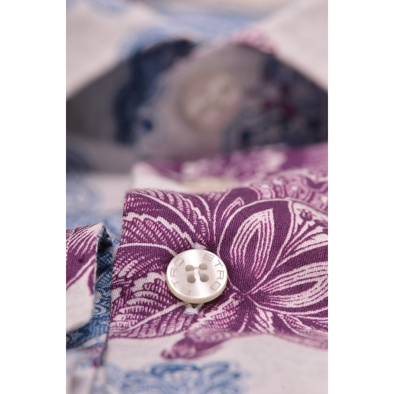 ETRO - Cotton Shirt with Flower Pattern - Ivory/Avion