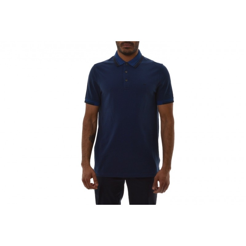 MICHAEL BY MICHAEL KORS - Cotton Polo Shirt with Logo on Colla - Marine Blue