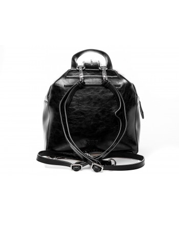 PINKO - CARTER Backpack with Faux fur - Black/Grey
