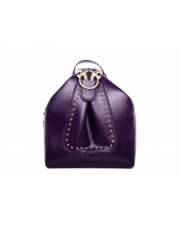PINKO - ALKAN leather Backpack  - Dark Purple