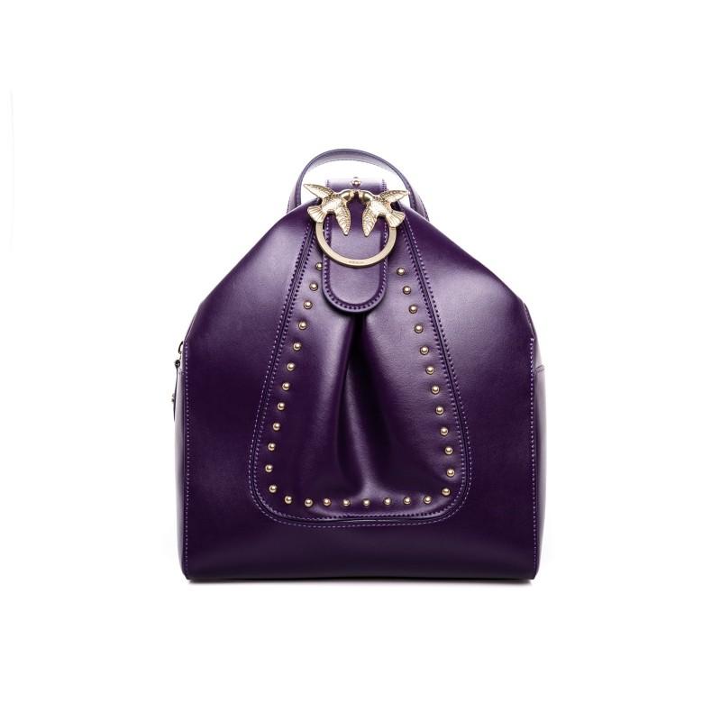 PINKO - ALKAN leather Backpack  - Dark Purple