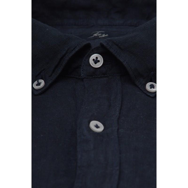 FAY - Camicia in lino - Blu