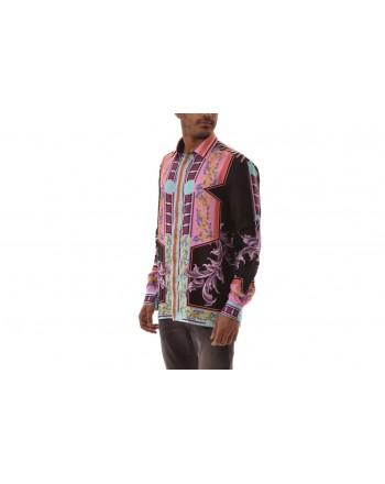VERSACE COLLECTION - Camicia in seta con stampa - Nero/stampa