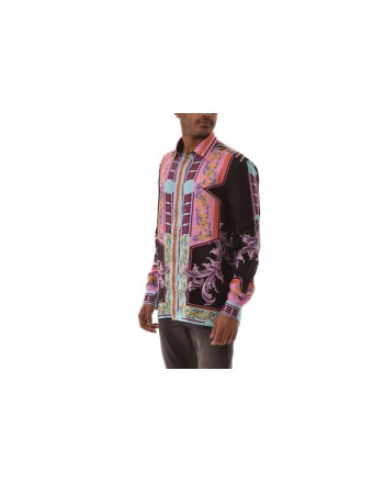 VERSACE COLLECTION - Silk shirt with print - Black