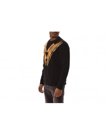 VERSACE COLLECTION -   T-Shirt in cotone stampa Oro - Nero
