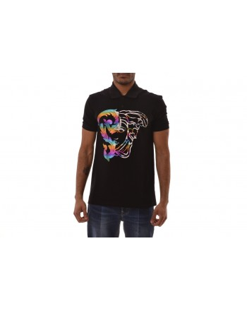 VERSACE COLLECTION - Polo in Cotone con Stampa Medusa - Nero/Stampa