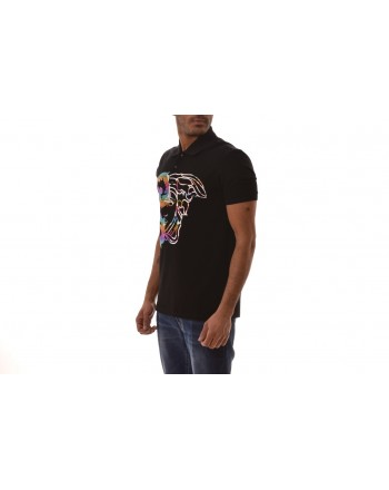 VERSACE COLLECTION -Cotton Polo Shirt with Medusa Print - Black