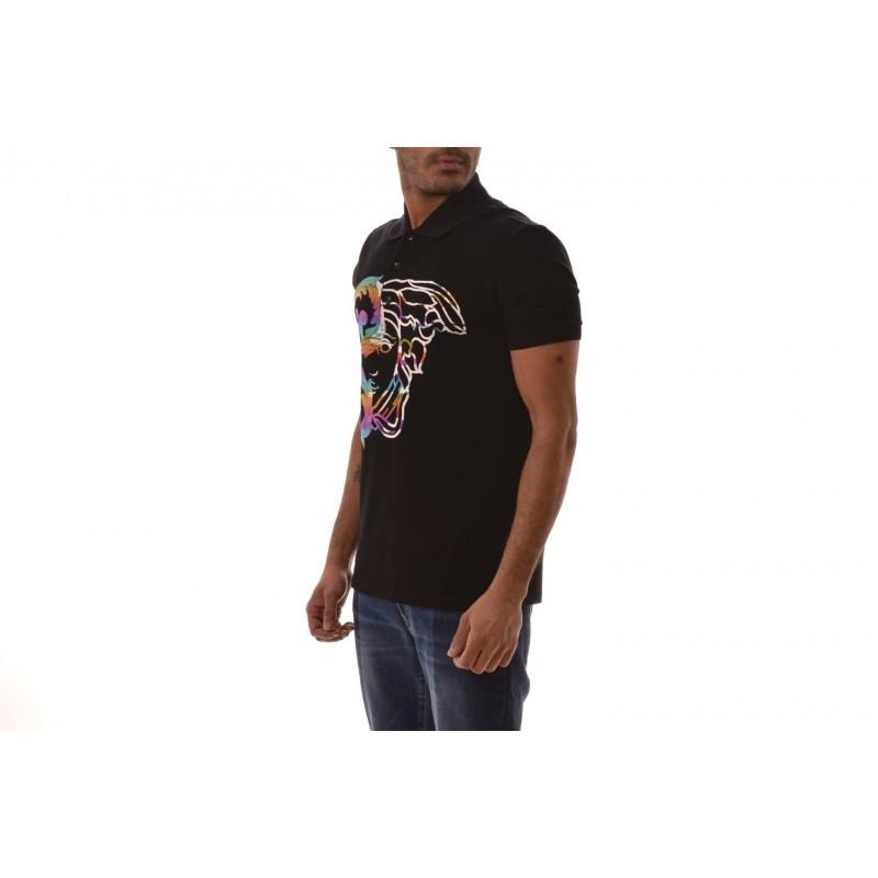VERSACE COLLECTION -Cotton Polo Shirt with Medusa Print - Black