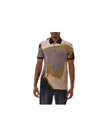VERSACE COLLECTION - Patterned Polo Shirt  - Grey