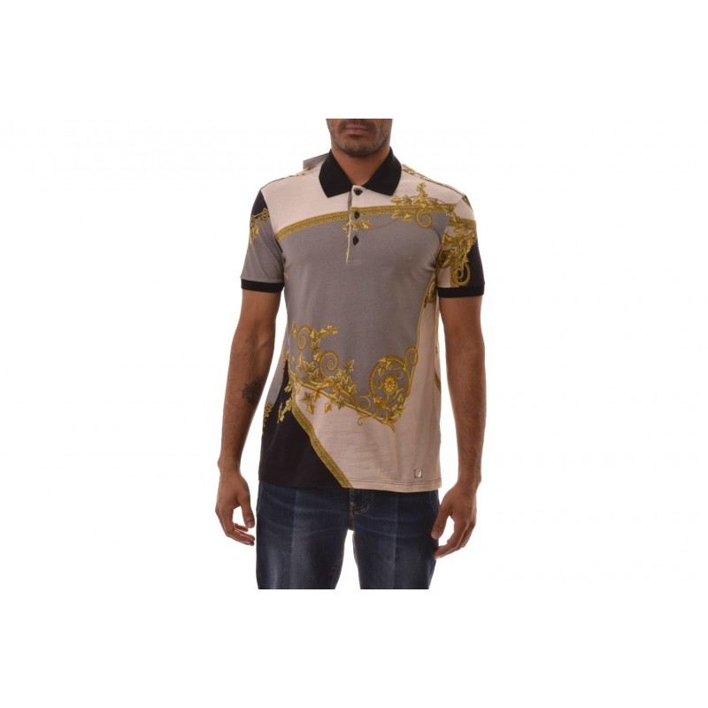 VERSACE COLLECTION - Polo a Stampa  - Grigio Stampa