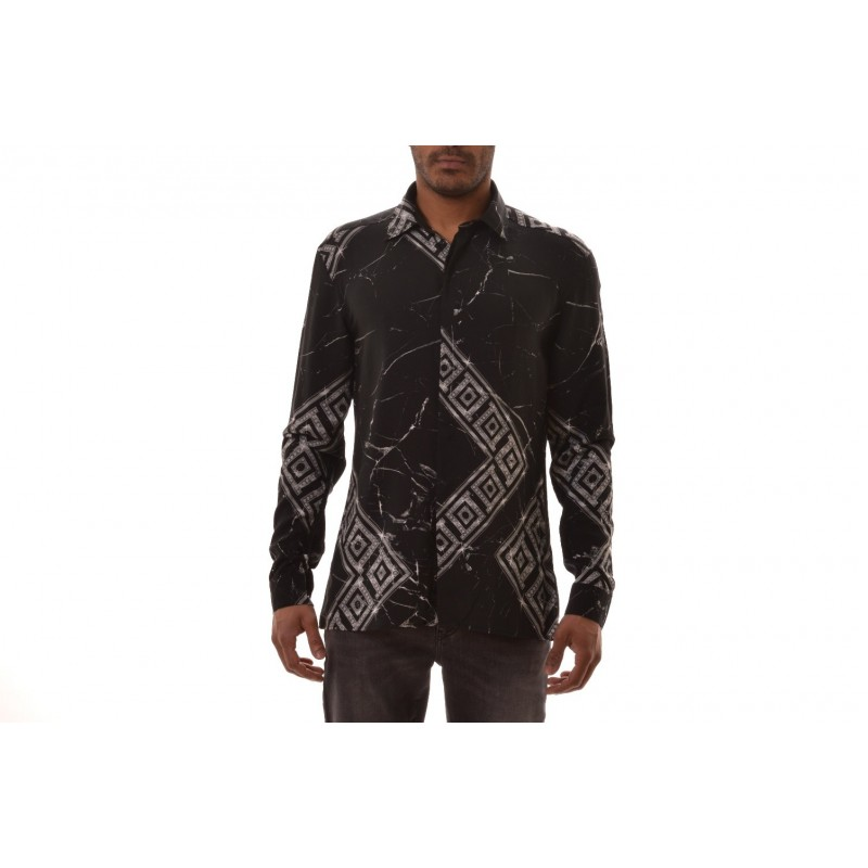 VERSACE COLLECTION - Camicia a motivo Greca  - Nero /Stampa