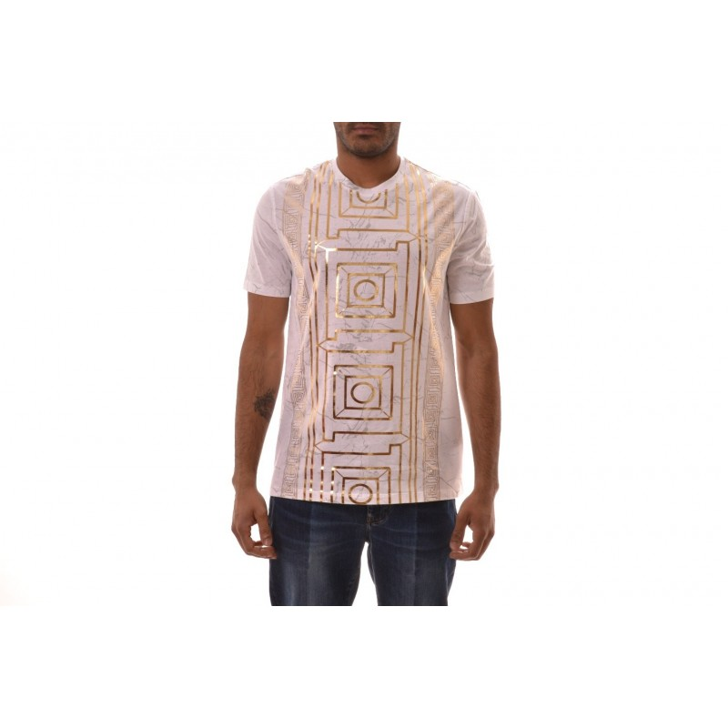 VERSACE COLLECTION -  Cotton T-Shirt with Gold printed - White