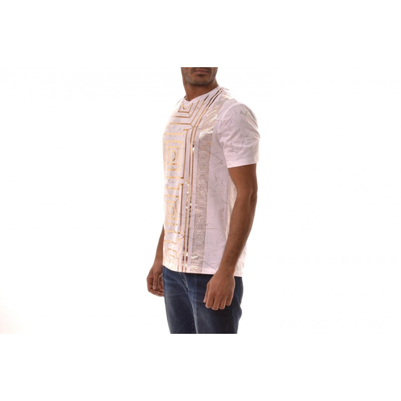 VERSACE COLLECTION - T-Shirt in cotone con stampa Oro - Bianco