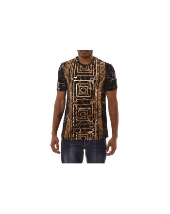 VERSACE COLLECTION -  Cotton T-Shirt with Gold printed - Black