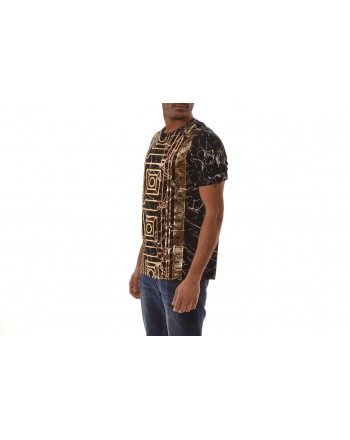 VERSACE COLLECTION - T-Shirt in cotone con stampa Oro - Nero