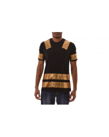 VERSACE COLLECTION - T-Shirt in cotone con stampa Oro - Nero